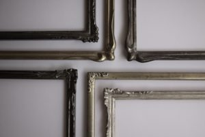 Rich and Davis Small Ornamental Frames water-gilt in Silver, White Gold and Palladium