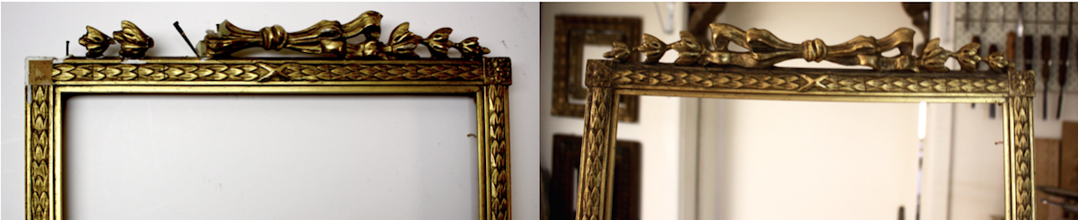 7be097db5039 Above  Detail of an ornamental ribbon frame before and after restoration