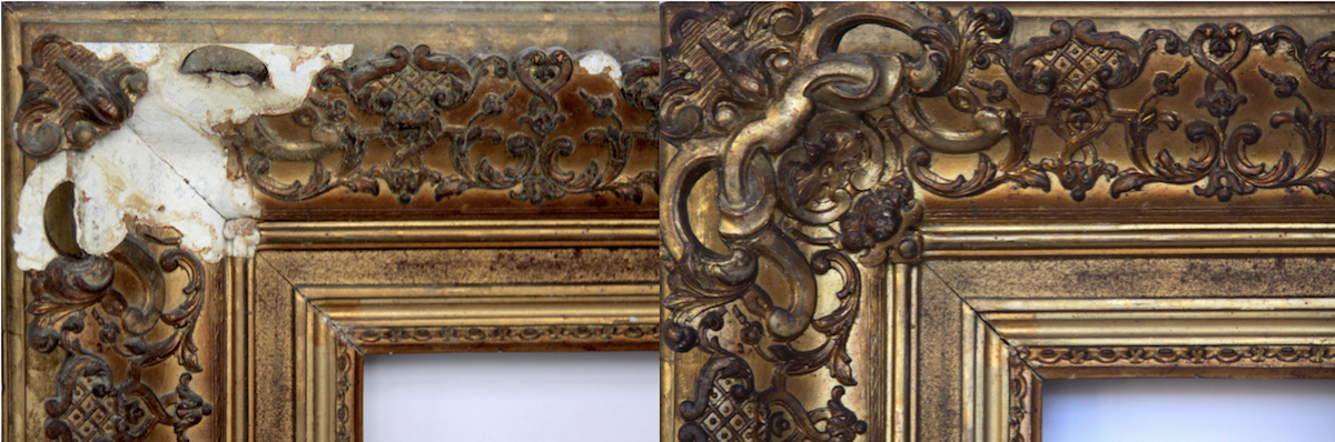 3085c488f381 Above  Detail of the ornamental corner before and after restoration