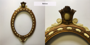 Oval frame restoration over painted repair