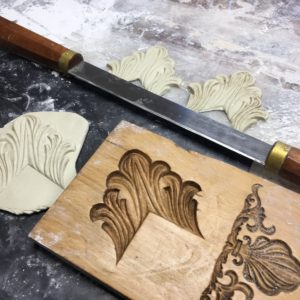 Rich and Davis Hedingham picture frame ornament making with boxwood mould