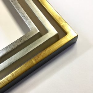 Rich and Davis Water-gilded box frames gold and silver