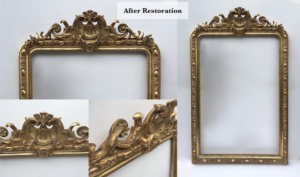 Ornamental gold mirror frame restoration after showing overall frame and details