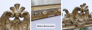 Picture frame restoration before showing three details of damage